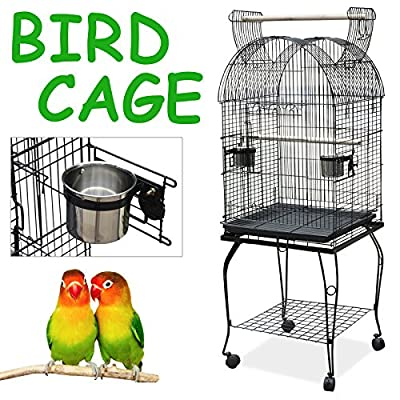 Beyondfashion Comfortable Large Pet Bird Budgie Canary Aviary Parrot Cage Open Top Perches Stand Cage