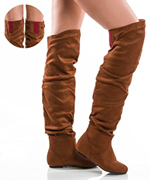 Women's TREND-Hi Over-the-Knee Thigh High Flat Slouchy Shaft Low Heel Boots by ROOM OF FASHION CAMEL RED SUEDE (8)