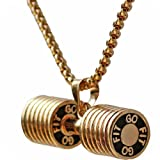 Dumbbell Necklace Stainless Steel Couples Barbell Pendant Keep Fit Jewelry Valentines' Gift (Champagne big) (Color: goldbig)