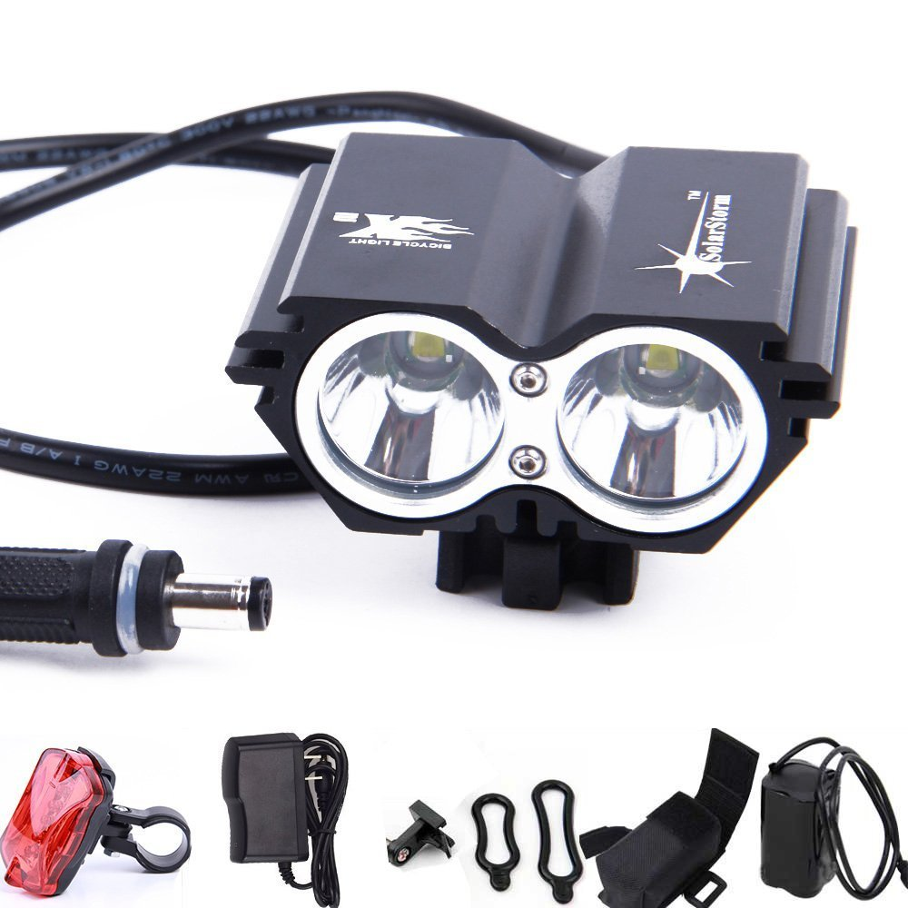 Amazon.com : Solarstorm® 5000 Lumen Bike Light U2 XML 2 CREE LED Bicycle Light headlamp with 4x18650 Battery Pack + Rear Light