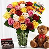 Ultimate Birthday Bouquet of Assorted Roses - Flowers