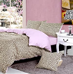 Light pink cheetah print bedding leopard print duvet cover set full size - Pink cheetah bed set ...