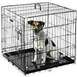 Pet Trex 24 Inch Folding Crate-N-Kennel Double Door Heavy Duty Metal Cage 24