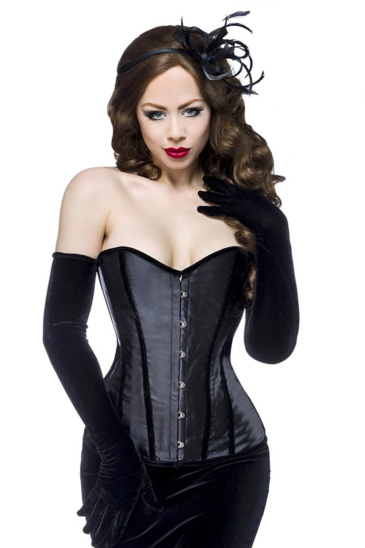 Schwarze Dessous Burlesque Satin-Corsage glänzend mit Samt, Formstäbe und Schnürung kaufen