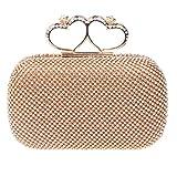 Fawziya 梵姿雅 上品で華やかハート型指輪ラインストーンデコパーティーバッグ結婚式クラッチバッグ-ゴールド