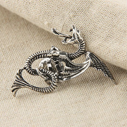 Yazilind Jewelry Christmas On Sale! Western Punk Style Dragon Flying With Wing Gray Silver Plated Ear Cuff Earrings for Women&Girls Gift Idea