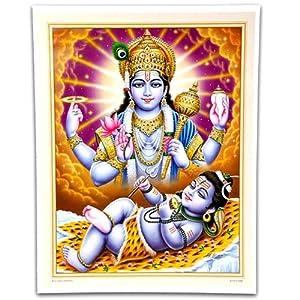 """Sir Vishnu Blessing Shiva Poster 15""""x20"""""""