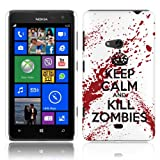 Nokia Lumia 625 Case - White and Red Hard Plastic (PC) Cover with Funny Keep Calm Kill Zombies Design