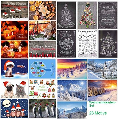 Set di biglietti natalizi (23pezzi)-un Mix Colorato in schede Nostalgie, inverno paesaggi e divertenti motivi natalizi di Edition Colibri©-ecologico, eliminando amica dell' ambiente