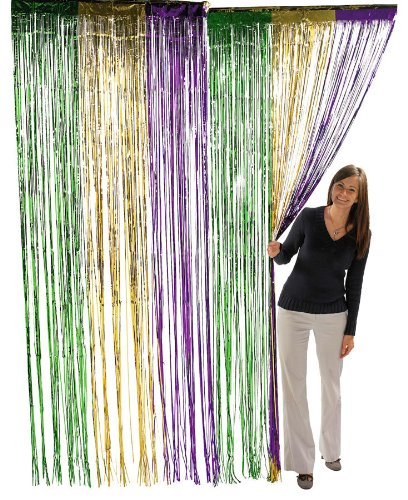 Fun Express Metallic Mardi Gras Fringe Curtains (1 Piece)