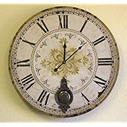 Large 23 Wall Clock w/ Pendulum ~ Antique Fleur Gold Provincial Style