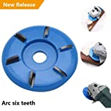 Six Teeth Power Wood Carving Disc Tool Milling Cutter, Woodworking Turbo Tea Tray Digging Wood Carving Disc Tool Milling Cutter for 16mm Aperture Angle Grinder Blue (Color: Blue)
