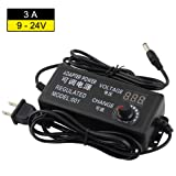 YETAIDA Universal Adjustable AC/DC Switching Power Adapter,100-240V to 9-24V 3A 50-60hz Power Supply Adapter Converter with LED Voltage Display (Tamaño: 9V-24V 3A)