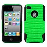 Snap-On Protector Dual Layer Hybrid Design Case for Apple iPhone 4 4S - Green/Black