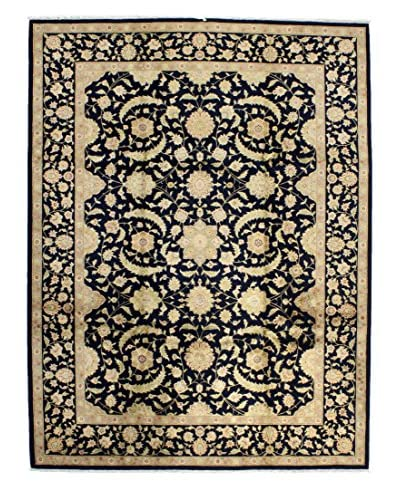 Bashian Hand Knotted Chinese Agra Silk Flower Rug, Navy, 8' 9 x 11' 9