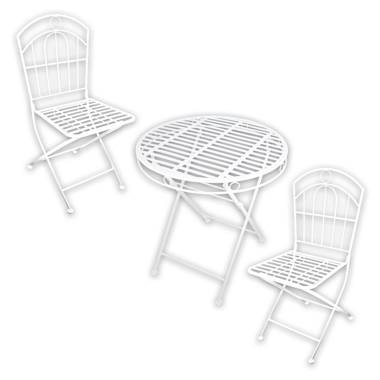 """Metall Gartenmöbel SET – 1x Tisch 2x Stuhl """"White Spirit"""" in weiß lackiert für indoor und outdoor jetzt kaufen"""