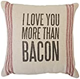 Primitives by Kathy 9-Stripe More Than Bacon Pillow, 15-Inch by 15-Inch