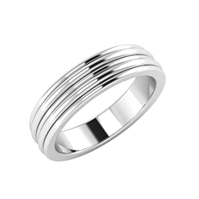 Men's Ring / Mens Band In 18ct Solid White Gold - Free Engraving