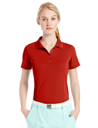 adidas Golf Women's Puremotion Jersey Polo, University Red/Black, X-Large