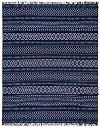 Blue Geo Cotton (10\'x14\') Rug