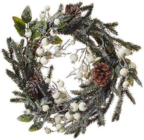 Kaemingk 685160 Kranz dekoriert mit weißen Beeren und Zapfen, gefrostet, PE, innen, Durchmesser 40 cm thumbnail