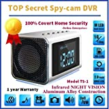 TOP Secret Spy Camera Mini Clock Radio w/4Gb Sd Card included. Hidden DVR- Continuous power or battery power. No need for a PC. FF and RR right on screen. Turn off screen and keep on recording silently with no flashes or sounds. Use it to catch a thief, w