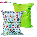 Cloth Diaper Wet And Dry Bags (Pack Of 2), Angel Love Baby 2PCS Waterproof Washable Reusable Wet Bag With Two...