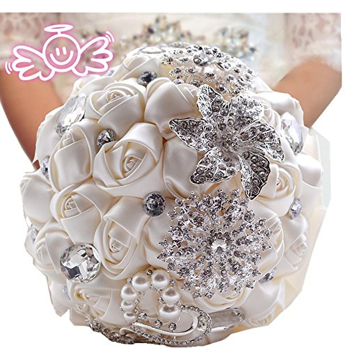 Pavian Advanced Customization Romantic Wedding Bride Holding Bouquet Roses Diamond Pearl Ribbon