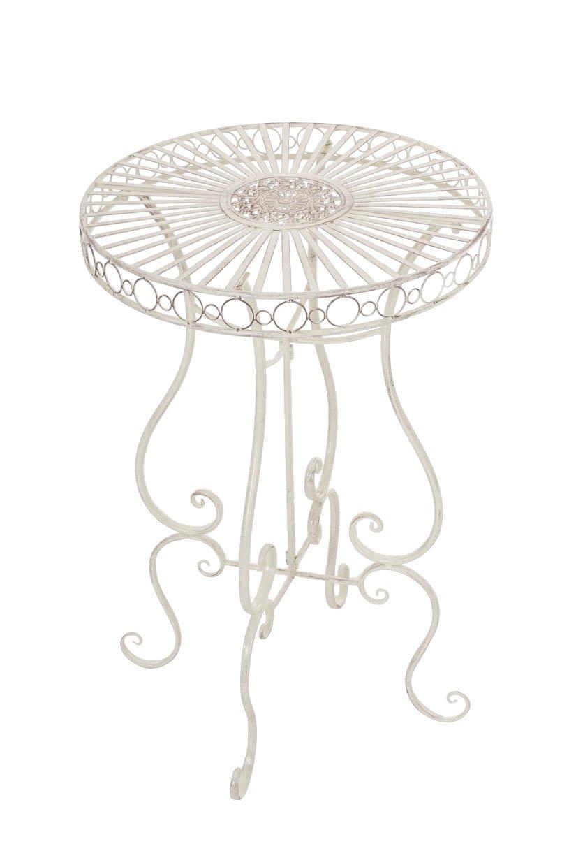 CLP handgefertigter runder Eisen-Tisch SHIVA in nostalgischem Design, Durchmesser Ø 64 cm (aus bis zu 6 Farben wählen) antik-creme