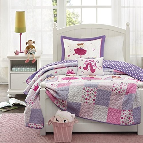 Image Is Loading Girls Purple Pink Ballerina Patchwork Coverlet Twin Set
