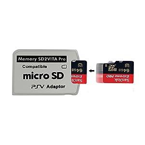 Funturbo Ultimate Version SD2Vita 5.0 Memory Card Adapter, PS Vita PSVSD Micro SD Adapter PSV 1000/2000 PSTV FW 3.60 HENkaku Enso System (Color: White, Tamaño: 30 mm x 22 mm)