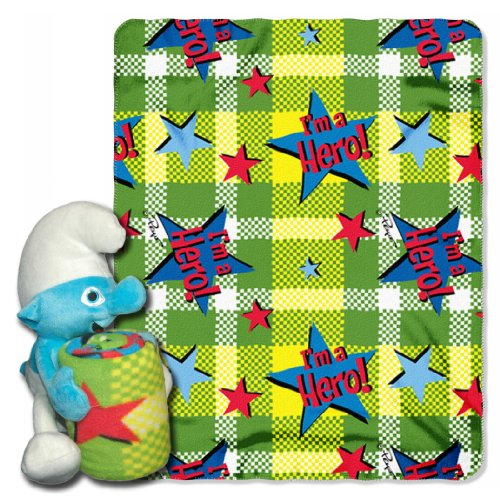 Sony, Smurfs, I'M A Hero 40-Inch-By-50-Inch Fleece Blanket With Character Pillow By The Northwest Company