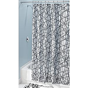 Interdesign Abstract Fabric Shower Curtain X Long 72 X 84 Black White Home