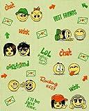 Kids childrens wall covering wallpaper EDEM 037-25 Fun Manga Anime Chat Smiley beige-green yellow green 5.33 sqm (57 sq ft)