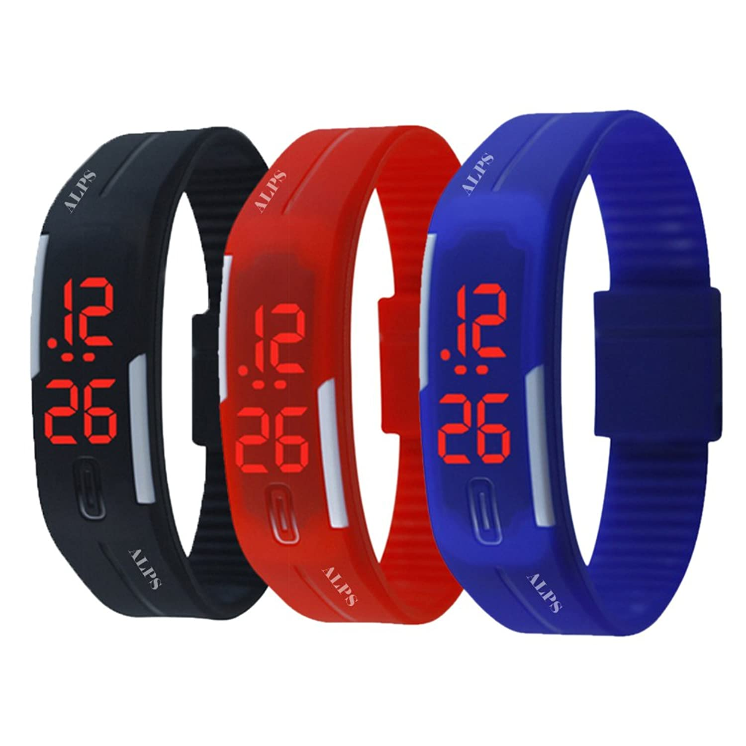 ALPS New Digital Display Silicone Band Touch Screen Sports LED Watch Bracelet (3 Pack)