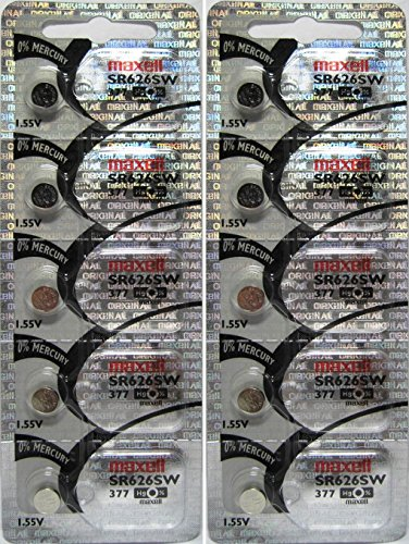 Maxell Watch Battery Button Cell SR626SW SR-626SW 377 2 Packs of 5 Batteries, hologram packaging that guarantees authenticity