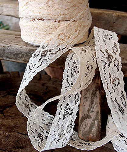 "AK-Trading 1"" wide x 25 yards Ivory Floral Pattern Lace Ribbon for Decorating, Floral Designing and Crafts"
