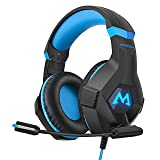 Mpow EG9 Gaming Headset,3D Stereo Surround Sound, Soft Imitation Protein Memory Earmuff, Gaming Headphones with Noise Cancelling Mic & Volume Control, RGB Light for PC/PS4/Xbox One/Nintendo Switch (Color: Black, Tamaño: normal)