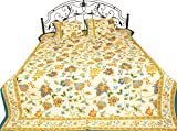 Bedspread from Sanganer with Printed Flowers & Leaves Pure Cotton with Pillow Covers Color Cream & Blue Color