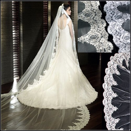 Loveshop Top-level Quality 3 Meter Long Single-layer Embroidery Lace Edge Bridal Wedding Veil, White, 3M