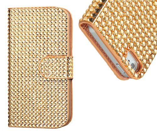 Mylife (Tm) Gold Diamond Bling {Rhinestone Design} Faux Leather (Card, Cash And Id Holder + Magnetic Closing) Slim Wallet For The All-New Htc One M8 Android Smartphone - Aka, 2Nd Gen Htc One (External Textured Synthetic Leather With Magnetic Clip + Intern