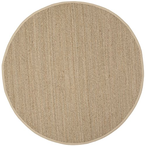 Safavieh Natural Fiber Collection NF115A Handmade Natural and Beige Seagrass Round Area Rug, 6 feet in Diameter (6' Diameter)