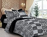 #10: Casa Copenhagen- Basic 144 Thread Count 100% Cotton Double Bedsheet With 2 Pillow Cover- Black & White