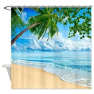 CafePress Beach Scene Shower Curtain Standard White