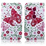 HPY_Hero NEW STYLE Painting Metro Flower Deluxe Book Style Folio PU Leather Wallet with Magnet Design Flip Case Cover, Credit Card Holder for HTC One M8 (Red Butterfly)