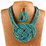Qiyun (TM) 18K Gold Twist Small Beaded String Torsade Multiple Rows Necklace Earrings Set