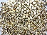 1000個 キューブ型 ゴールドビーズ 4mm アクリル フェイクメタル ヒューイ雑貨