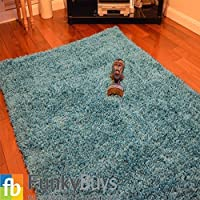 Ex-Large Small Size Thick Plain Soft Shaggy Rug Non Shed Pile Modern Rugs Duck Egg Blue/Teal Blue Size: 120 x 170cm Best on Amazon by FunkyBuys®