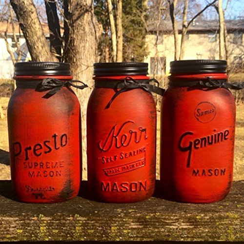 Mason Jar Canister Set, Rustic Mason Jar Centerpiece, Rustic Red Canisters