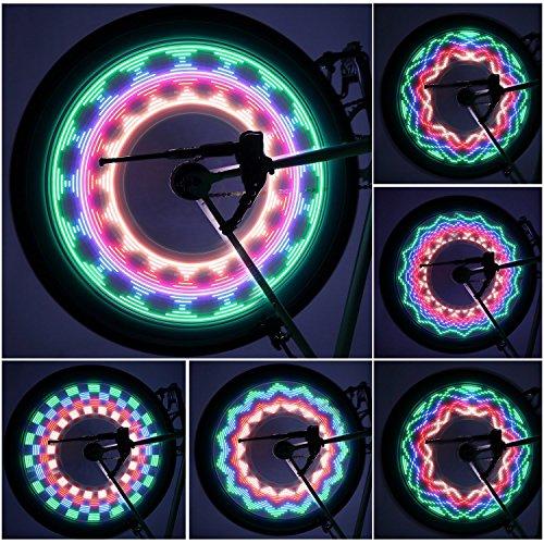 OUTAD Luci Ruote Bici / Luci a LED per Bicicletta, 32 LED, 32 Grafiche Diverse, Impermeabile, Garanzia di 12 mesi